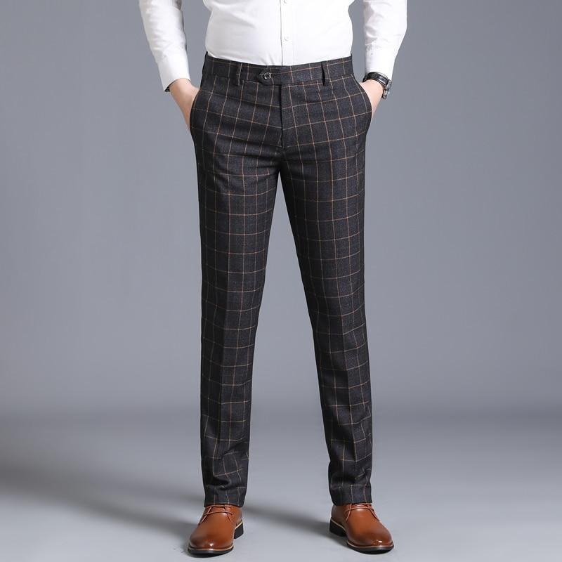 Pants Men Summer Autumn Business Casual High grade Straight Plaid Suit Pants Dress Classic Men Trousers Slastic Slim in Suit Pants from Men 39 s Clothing