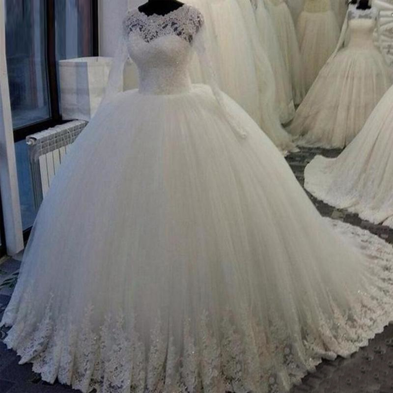 Robe De Mariee Lace Appliques Sheer Neck Princess Wedding Dresses With Long Sleeve Ball Gown Wedding Gowns 2019