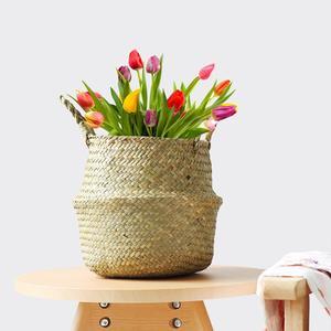 Image 4 - Cesta de mimbre plegable para colgar, maceta de mimbre hecha a mano para plantas, maceta moderna decorativa para el hogar