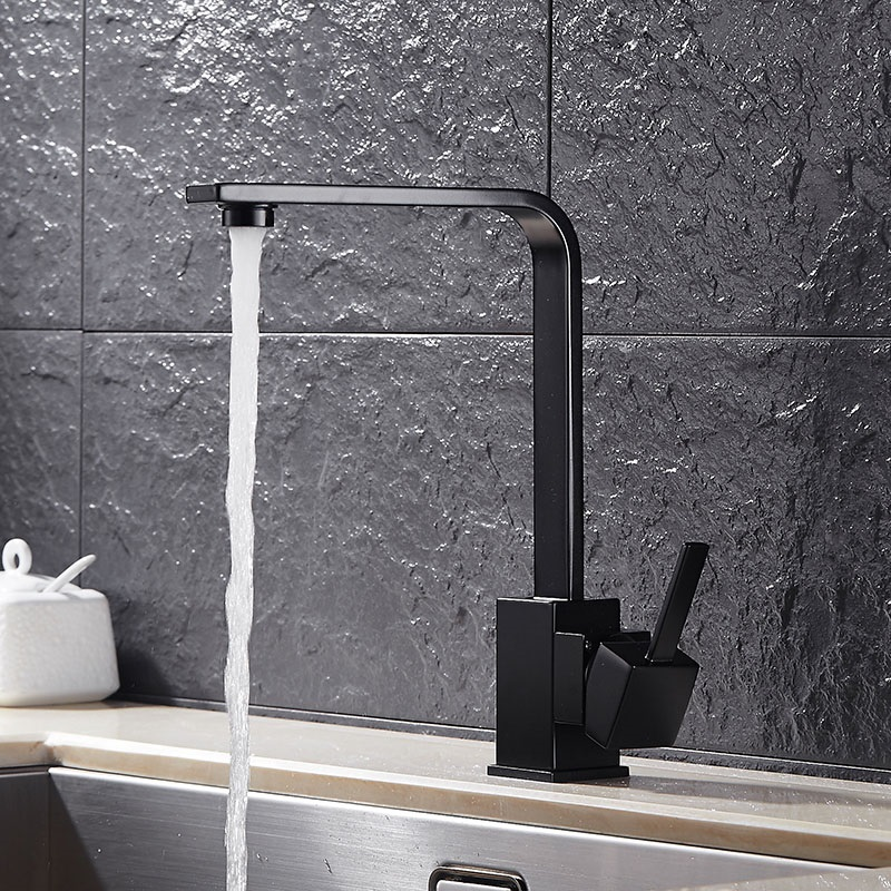 Kitchen Faucets Black Square Single Handle Hot And Cold Water Tap Deck Mounted Solid Brass Torneira
