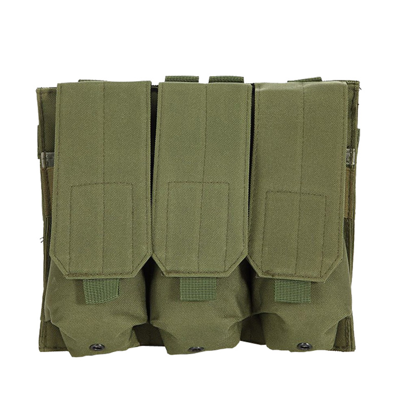 Molle Tactical Triple AR15 <font><b>M4</b></font> 5.56mm Mag <font><b>Magazine</b></font> Pouch Pistol Handgun Shooting Vest Tool Dump Drop Hunting Airsoft Bag image