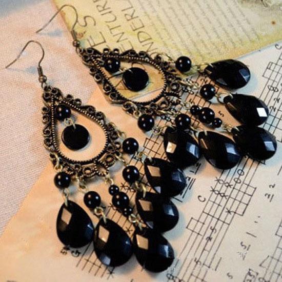 New 2020 Retro Fashion Hollow Tassel Earrings Long Big Hanging Luxury Vintage Big Black Water Drop Earrings With Stone For Women