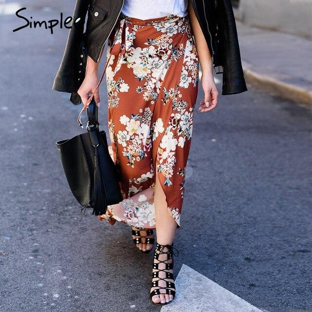 Simplee Vintage сплит юбки женская 2017 летом пляж Элегантный шифон высокой талии юбка цветочный boho печати макси длинная юбка женский