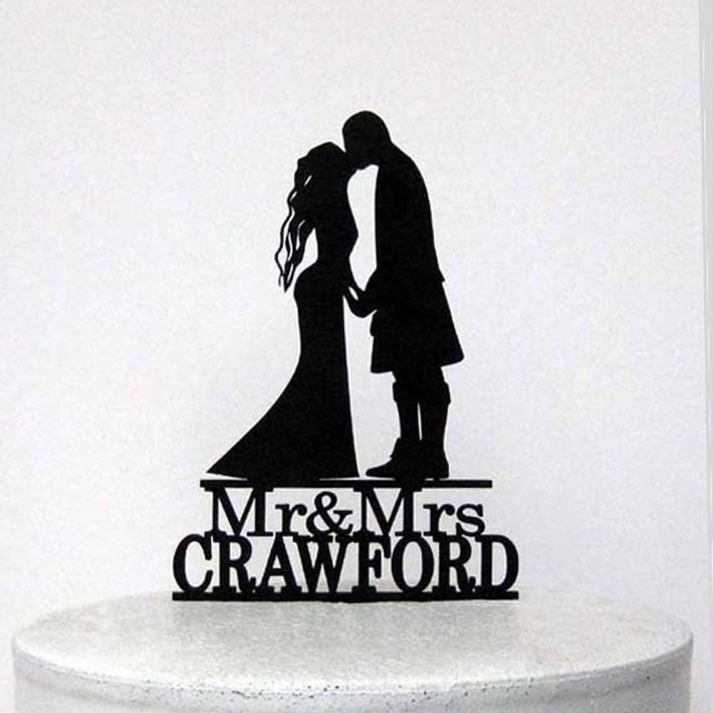 Personalized Wedding Cake Topper scottish kilt wedding,Customized Acrylic silver wooden gold cake topper with Mr & Mrs last name