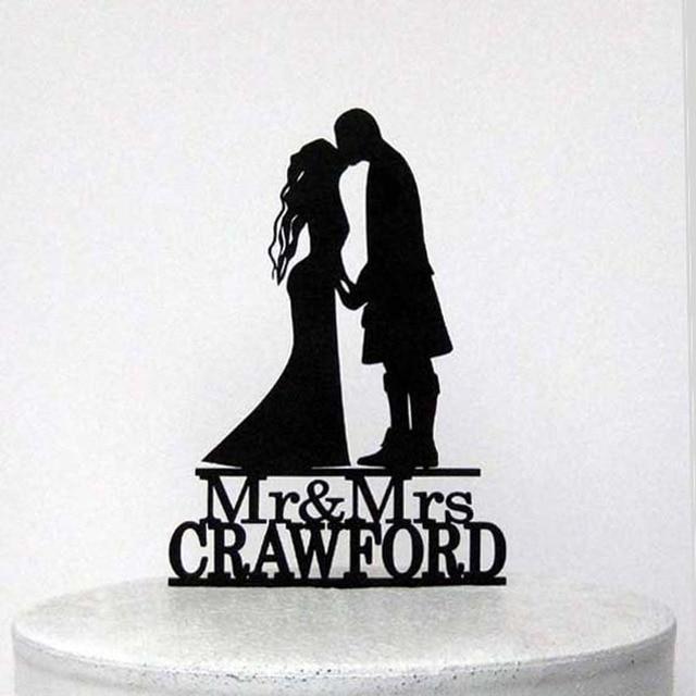Personalized Wedding Cake Topper Scottish Kilt WeddingCustomized Acrylic Silver Wooden Gold With