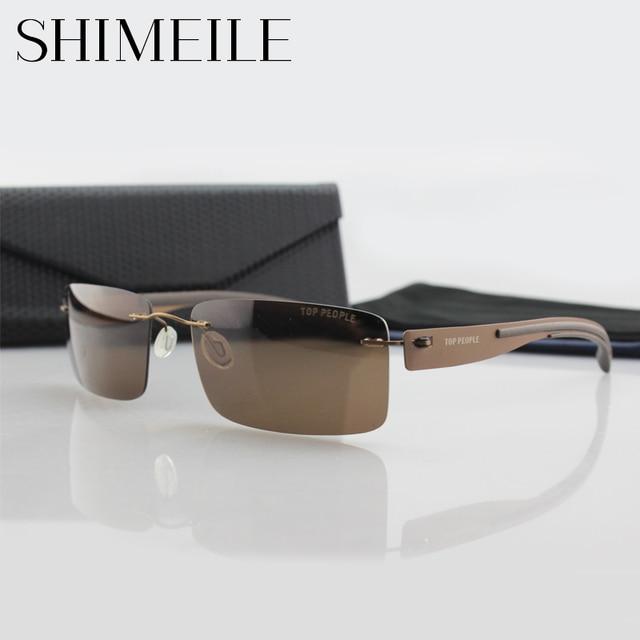 2016 Ultra-Light Rimless Sunglasses Men Brand Designer Sun Glasses Sports Driving Traveling high quality Brown Sunglasses B115