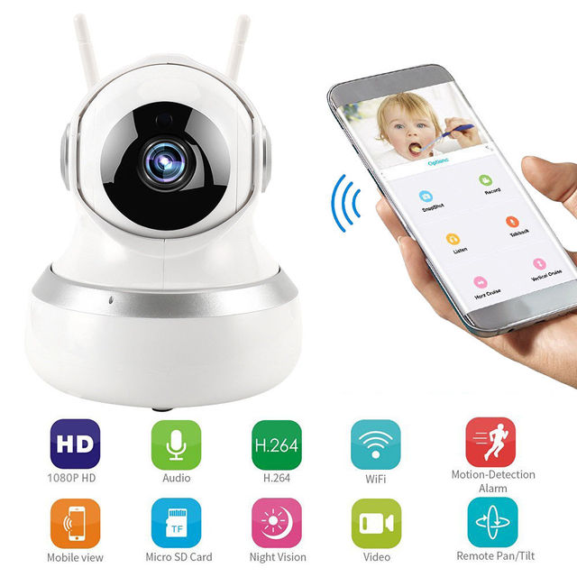 1080P Wireless Intelligent Monitor Home Security HD IP Camera With LED Wireless Smart WiFi Audio CCTV Camera Dual-Aerials