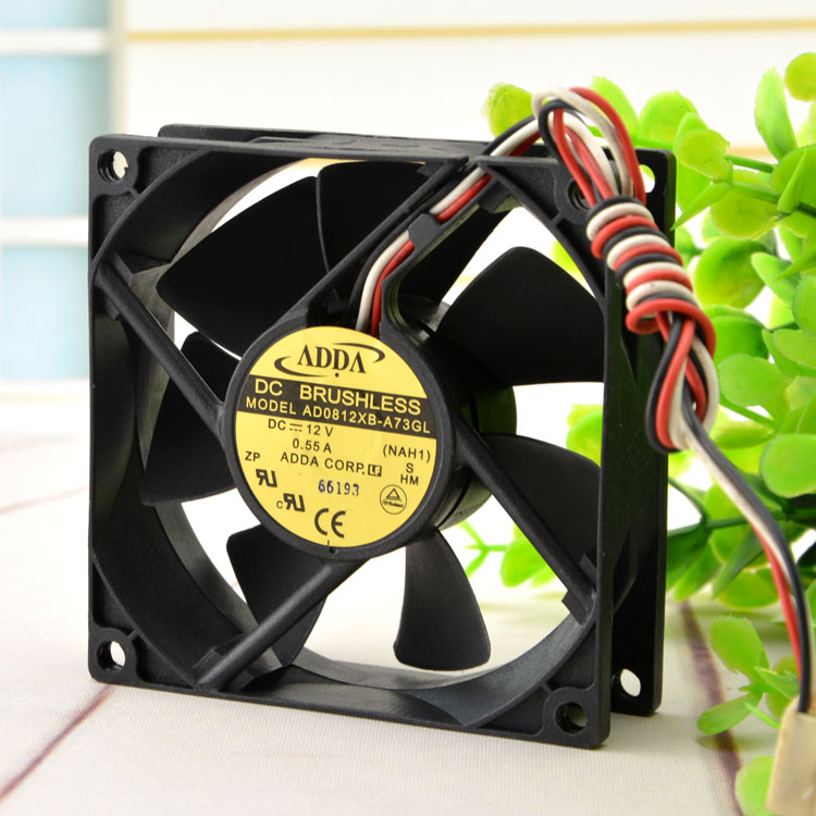Original ADDA AD0812XB-A73GL 12V 0.55A 8025 8CM 3-wire Chassis Cooling Fan