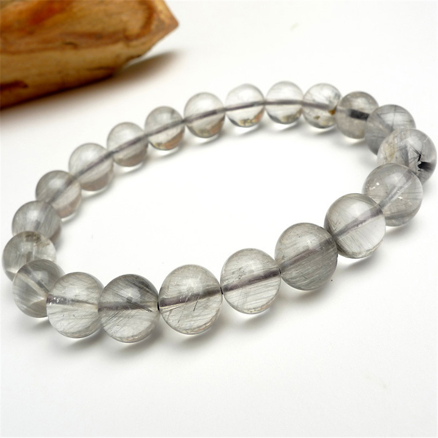 9mm Genuine Natural Rutilated Quartz Crystal Round Beads Fashion Jewelry Stretch  Charm Bracelet Femme(china