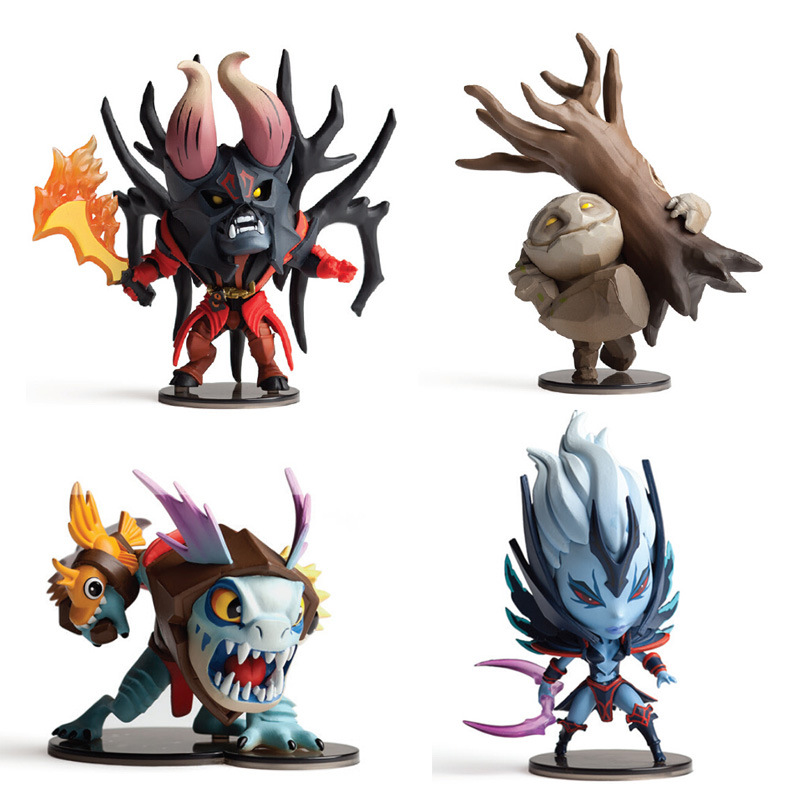 4pcs dota 2 figurine pudge toys set 2016 New Game Dota2 Q hero action figures resin weapons sword Talisman props car ornaments talisman