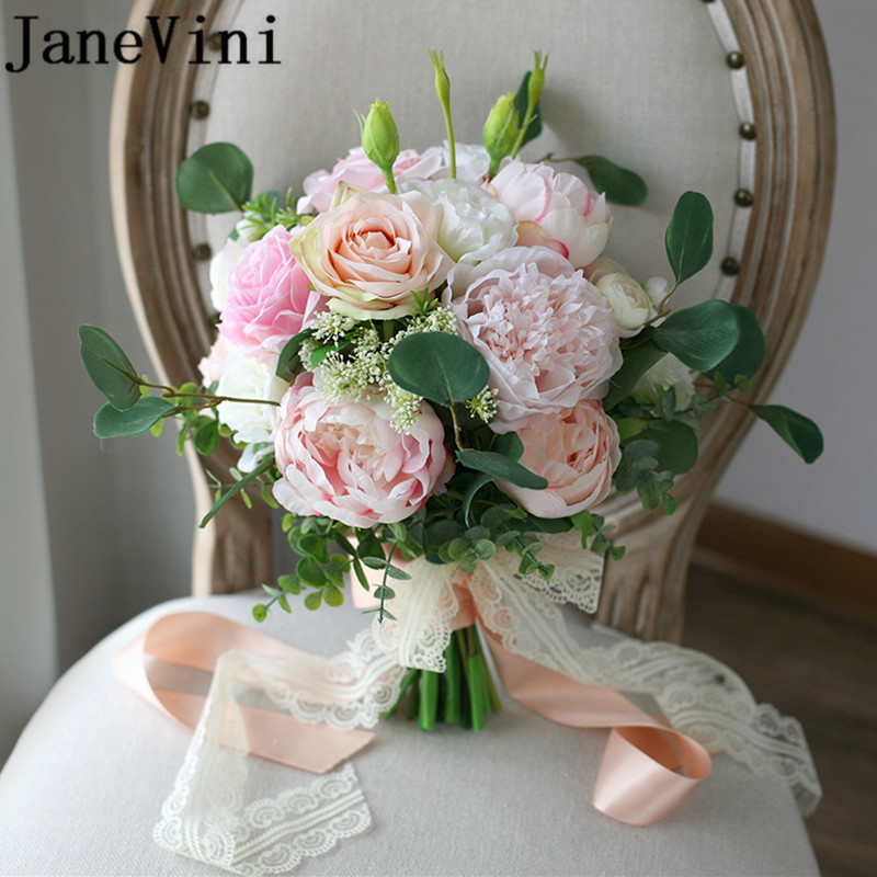 JaneVini 2018 Silk Bridal Bouquet Of Artificial Flowers Champagne Pink Rose Peony Wedding Bridal Flower Bouquet
