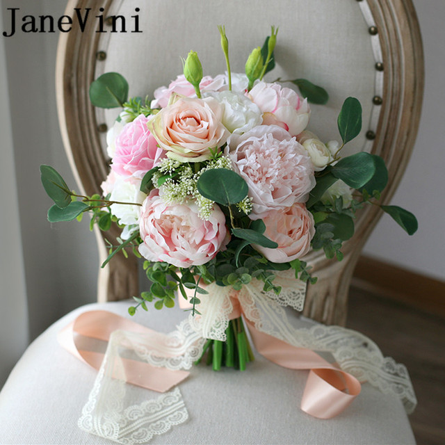 Janevini 2018 Silk Bridal Bouquet Of Artificial Flowers Champagne Pink Rose Peony Wedding Flower Bride Ribbon