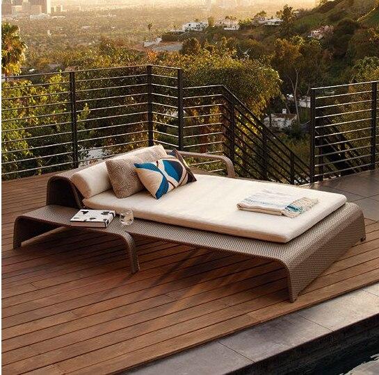 2017 Sigma Hookah Lounge Furniture Plastic Weaving Cane Garden Bed