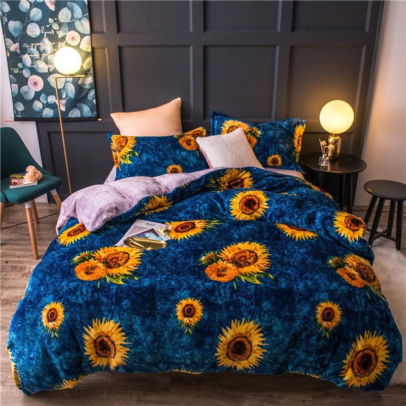 Fleece Warm Twin Full Queen King size Bedding Set Sunflower Bed set Duvet cover Flat sheet