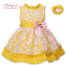 Pettigirl 2017 New Summer Flower Imprimer Filles Coton Robe De Pâques Enfants Jaune Costume Pour Enfants Fille Vêtements Avec Chapeaux