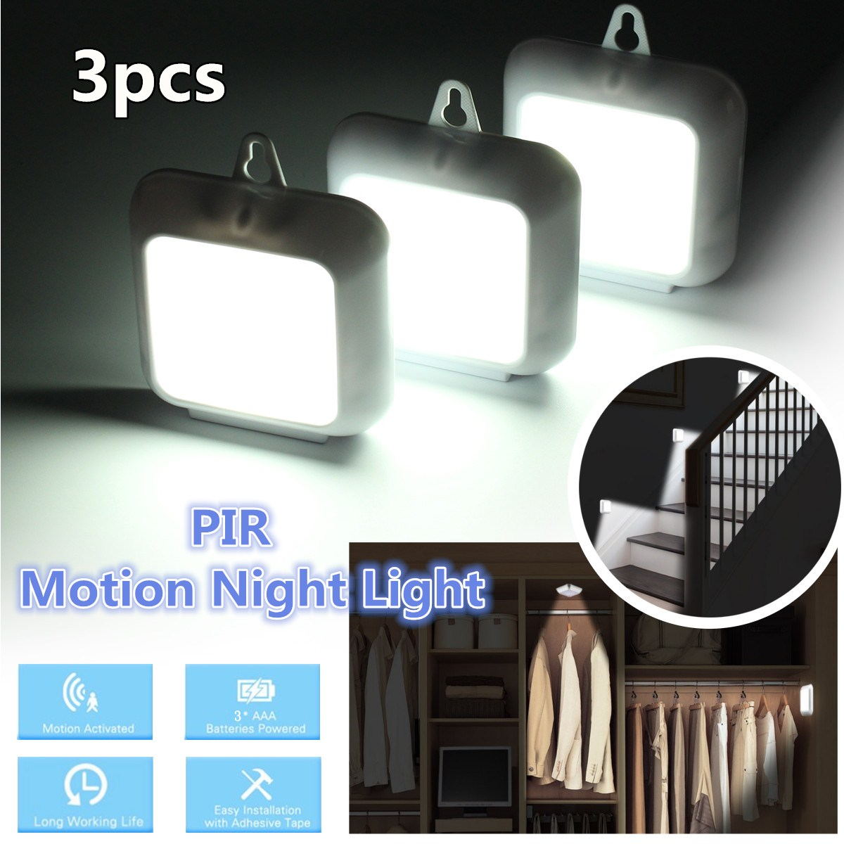 3 Pcs 6 LED Battery Powered PIR Motion Senser White Light Night Lamp for Cabinet Hallway Entrance