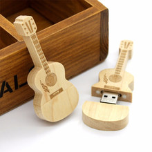 Unidad flash usb guitarra en forma de pluma 4GB 8G 16GB 32GB 64GB guitarras de madera modelo memoria Stick música natural pendrive regalo(China)