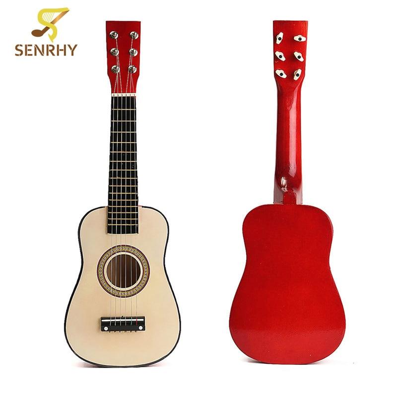 Senrhy 23 6 String Red Wooden Folk Acoustic Guitar Ukulele for Ukelele Music Instruments Lovers Beginners