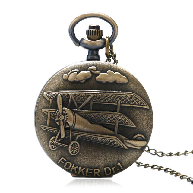 Vintage Bronze Fokker Dr.1 Plane 3D Pattern Small Quartz Pocket Watch Necklace P
