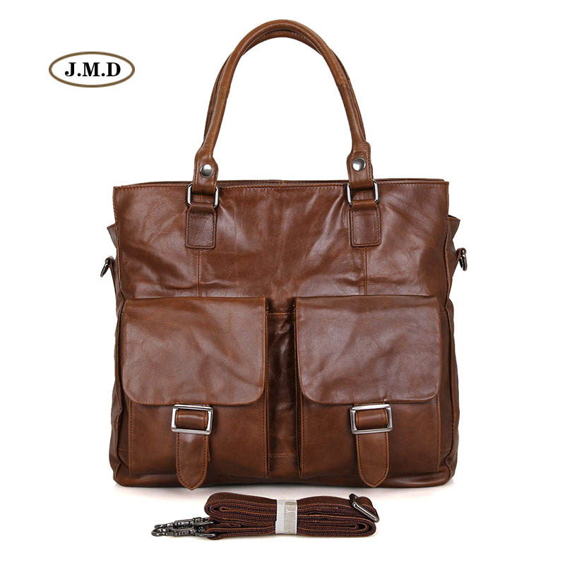 J.M.D Hot Selling High Quality Genuine Cow Leather Brown Men's Fashion Unique Design Briefcase Laptop Bag Shoulder Bag 7242B hot selling 2017nipon jjuya high quality genuine leather zippy wallets with dust bag and box free shipping