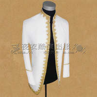 Free ship white with golden embroidery prince cosplay medieval mens jacket Renaissance lace Gown king costume