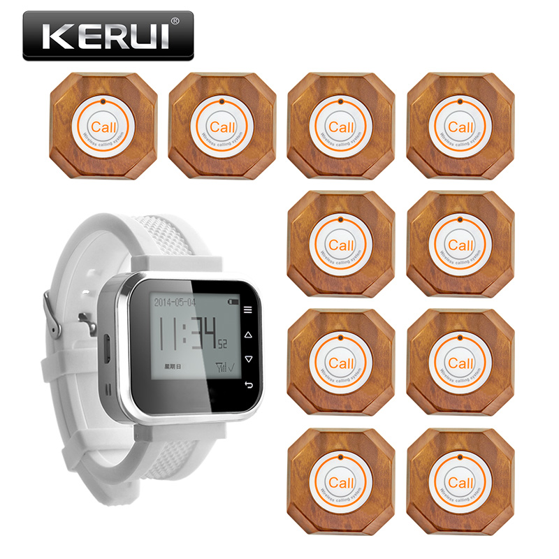 Kerui KR-C166 wireless watch wrist coaster pager call system for hospital restaurant wireless waiter service calling system wireless service calling system paging system for hospital welfare center 1 table button and 1 pc of wrist watch receiver
