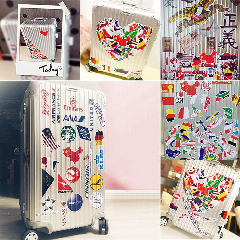 Image 5 - 50pcs National Flags Stickers Countries Map Travel Sticker DIY Computer Laptop Skin Vinyl Sticker for Motorcycle Car Suitcase-in Laptop Skins from Computer & Office