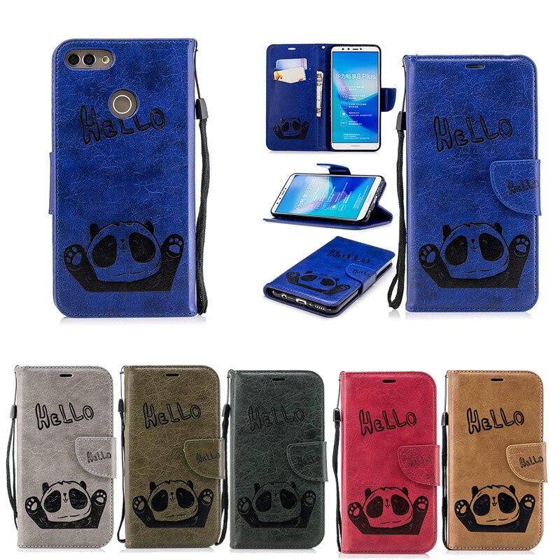 2019 Mode Wallet Case Voor Huawei Y9 Y7 Y6 Y5 2018 Case Hello Panda Reliëf Lederen Flip Case Voor Huawei Y5 Prime (2018) Smartphone Cover Elegante Vorm