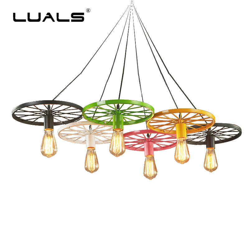Loft Pendant Lamp Retro Light Wrought Iron Personality Pendant Lights Creative Wheel Edison Bulb Light Fixture Bar Art Lighting loft retro globe k9 crystal wrought iron edison pendant lights lamp vintage metal bar pendant lighting droplight