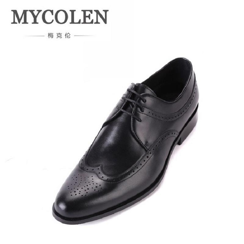 MYCOLEN Shoes Men Genuine Leather Lace-Up Handsome Autumn Dress Shoes Black Brown Carved Hollow Wedding Shoes Luxury Products good quality men genuine leather shoes lace up men s oxfords flats wedding black brown formal shoes