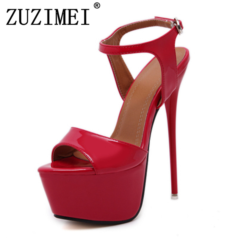 Women Sandals Gladiator Party Ankle Strap Patent Leather Concise Ultra Very High heel Pumps 17CM Fetish Sandals shoes size 34-40 new butterfly wings gladiator women sandals pointed toe high heels pumps patent leather ankle strap thin heel party shoes