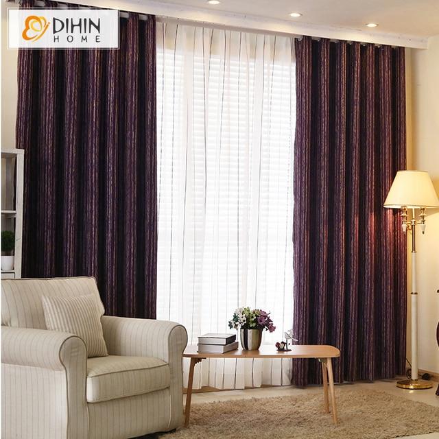 DIHIN HOME Purple Color Dense Cloth Fashion Design Striped Curtain ...
