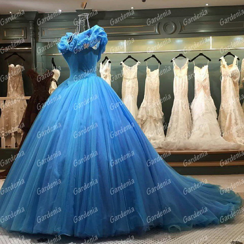 real photo cinderella wedding dress off shoulder princess bridal gown newest movie inspired wedding gown blue dress for bride in wedding dresses from