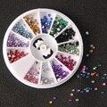 MOONBIFFY 12 Colores Nail Rhinestones 2mm Portátil Teléfono Decoración Para El Gel ULTRAVIOLETA de Acrílico Del Arte Del Clavo Herramientas Del Clavo de DIY