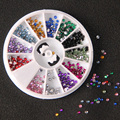 MOONBIFFY 12 Colors Nail Rhinestones 2mm Acrylic Nail Art Rhinestones Decoration For UV Gel Phone Laptop DIY Nail Tools