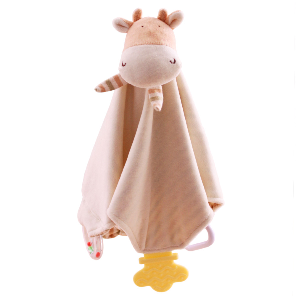 SHILOH Baby Soothing Towel Teething Doll teether blanket with Rattle and BB squeaker in Animal head BPA free