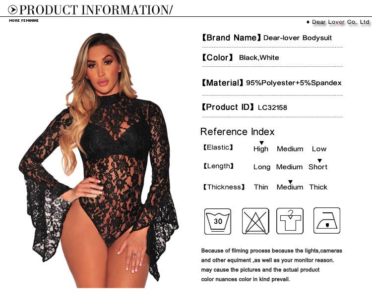 Dear Lover Bodysuits Autumn Black Sheer Floral Lace Long Bell Sleeve ... d6ba3715a