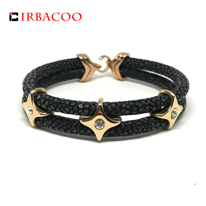 цена IRBACOO 2018 Luxury Men Bracelet Genuine Stingray Leather With Star Charm For Men Women Charm Bracelets Gift pulsera hombres