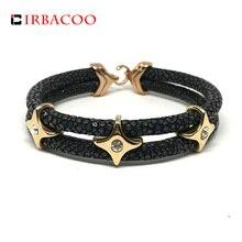IRBACOO 2018 Luxury Men Bracelet Genuine Stingray Leather With Star Charm For Men Women Charm Bracelets Gift pulsera hombres