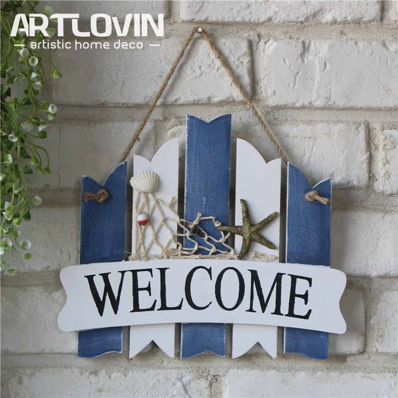 Mediterranean Nautical Style Wood Plaques Home Decor Hanging Door Plates Decorative Sea Welcome Signs White Blue