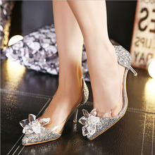 2016 New Spring Sexy Women Pumps Cinderella Shoes Pointed High Heels Female Silver Singles High-heeled Wedding Bridal Shoes
