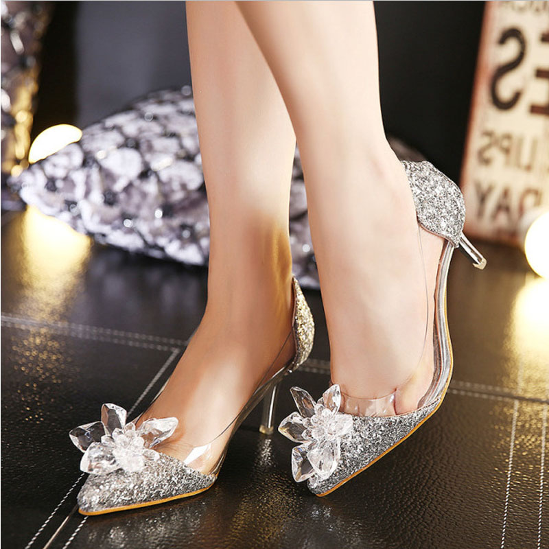 2016 New Spring Sexy Women Pumps Cinderella Shoes Pointed High Heels Female Silver Singles High heeled Wedding Bridal Shoes