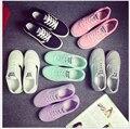 Женщины холст обувь Низкая помощь Квартира с шнуровке досуг студенческие обувь Женщины Конфеты Цвет Обувь настольные Обувь женщины