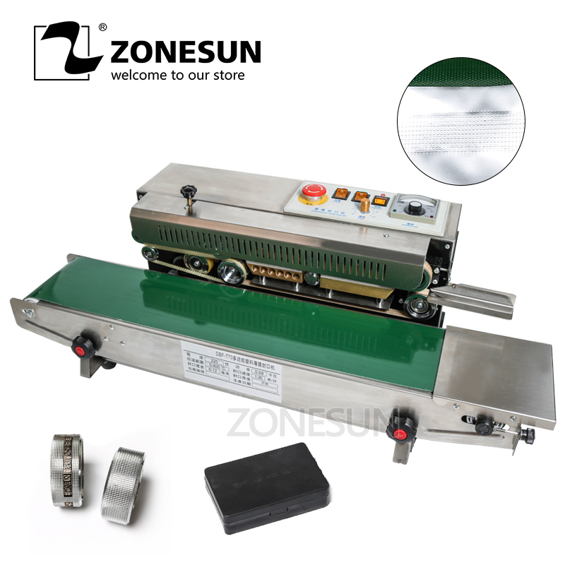 ZONESUN Sealer Sealing Machine Fr-770 Plastic Bag Soild Ink Continuous Band Expanded Food Band Sealer