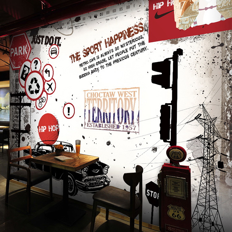 3d Retro Car Graffiti Brick Wallpaper Mural Cafe Ktv Bar Restaurant