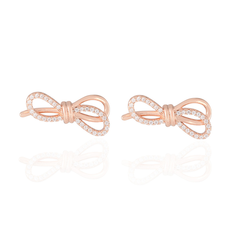KOFSAC Excellent Earrings For Women 925 Sterling Silver Jewelry Charm Zircon Rose Gold Bow Stud Earring Girl Party Accessories