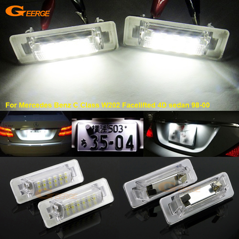 For Mercedes Benz C Class <font><b>W202</b></font> Facelifted 4D sedan 98-00 Excellent Ultra bright 18 smd <font><b>Led</b></font> License plate lamp light No OBC error image