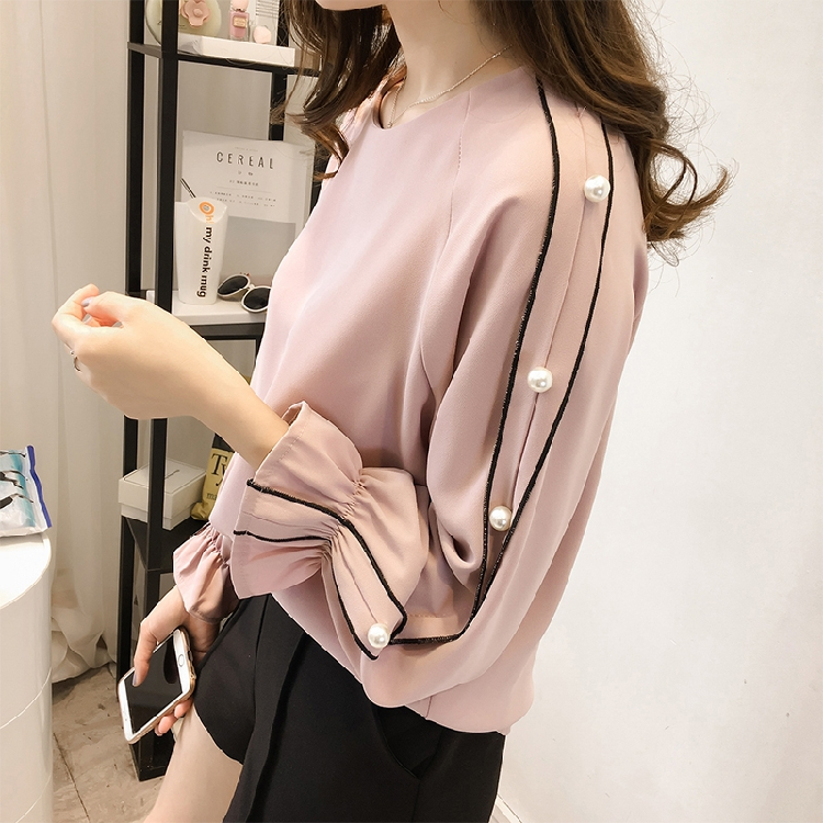 Fashion Sweet Wind All-match Women Blouse 2017 Autumn New Hitz Korean Large Horn Long Sleeved Beaded Bottoming Shirt 06J 30