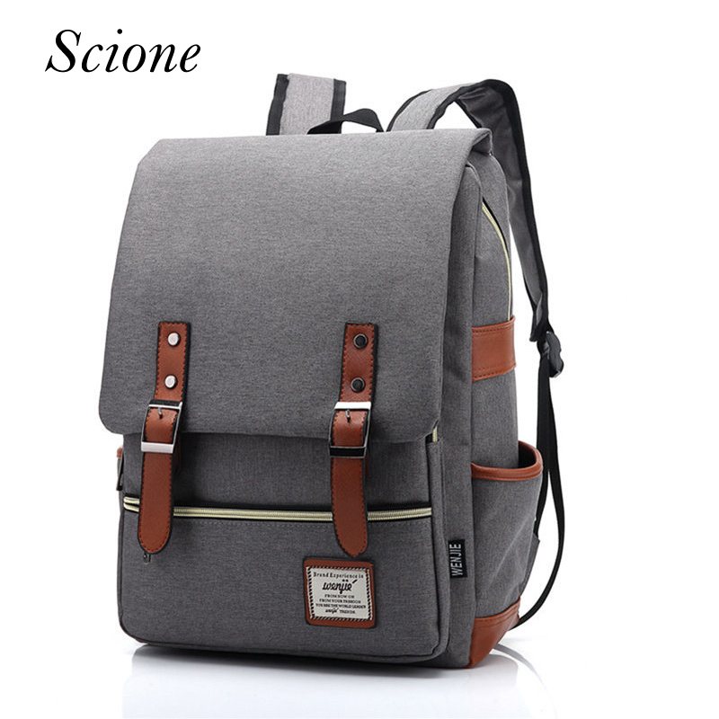 2017 Vintage Canvas Backpack Women Travel Rucksack Laptop School Bags for teenagers girls mochila Men shoulder Bag Female Li86