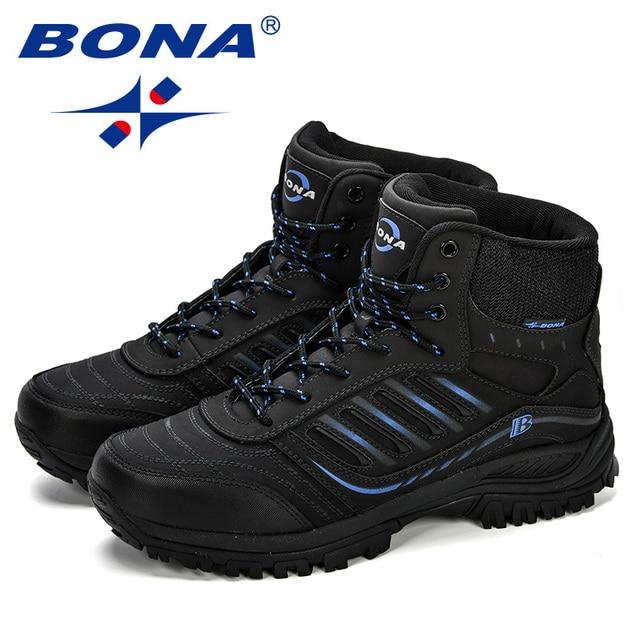 BONA Men Hiking Shoes Mid-Top Split Leather Outdoor Sneaker Men Comfy Trekking Boots Men Trail Camping Climbing Hunting Sneakers 6